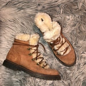 UO suede faux fur winter fall ankle boots 7.5 8